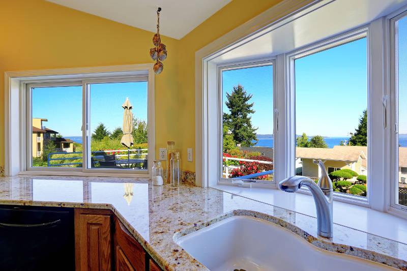 sliding window in a kitchen